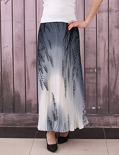Relaxfeel Taille Haute Froncée de La Femme Formelle Longue Maxi Jupe Plissée impression gris