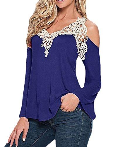 Donna camicia elegante manica lunga taglie forti pizzo senza spalline estivi maglietta v scollo sciolto camicetta casuale top plain blusa vintage t-shirt s-xxl
