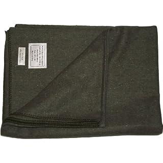 New Military Style Heavy Wool Blanket (Olive Green)(Size: 60inchx 80inch (152cm x 203cm))