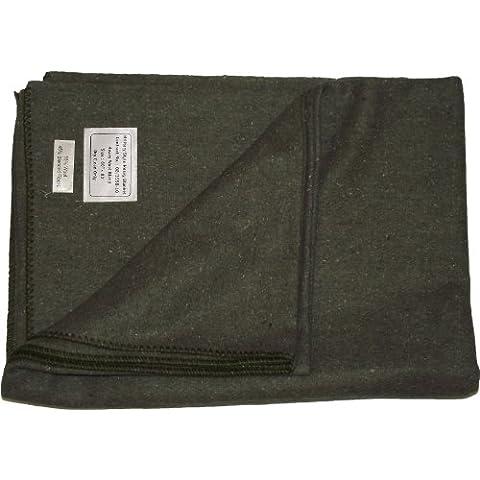Manta de lana, diseño militar, verde oliva, 60