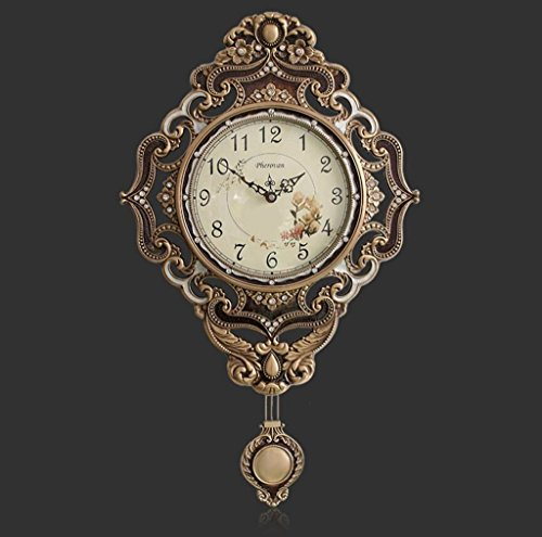 Bonne action Horloge murale Européenne Horloge Murale En Cuivre Grand Salon Chambre Horloge Li Son Mute Mouvement Rétro Quartz Horloge