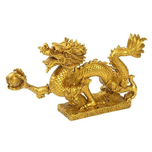 Chinesischer Feng Shui Drache Statue,Messing,Symbol für Glück und Erfolg Chinesischer Drache Ornamente,Figur mit Dragonball,Home Dekorationen Sammlerstücke (21.7x4.3x11.5cm -