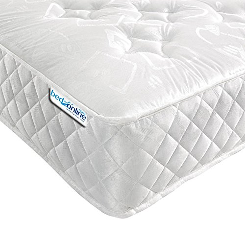 Bedzonline V Star Orthopaedic Open Coil Mattress, Fabric, White, Double