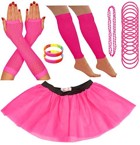 Dress Damen Kostüm Fancy Pink - Redstar Fancy Dress - Tutu-Röckchen, Beinstulpen, Netzhandschuhe, Perlenkette, schmale Gummiarmbänder und breite Armbänder - Neonfarben - Pink - 36-40