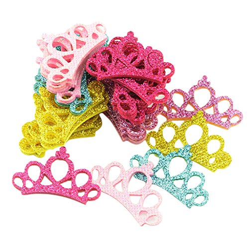 chiwanji 30 Pcs Assorted Color Kids Sequins Crown for Hair Clips Girls Hair Ornaments -
