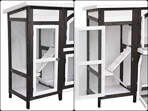 nanook Kaninchenstall, Hasenstall Jumbo XL mit seitlichen Aufgängen für mehr Platz – Wetterfest extragroß 138 x 48 x 109 cm braun/Weiss - 5