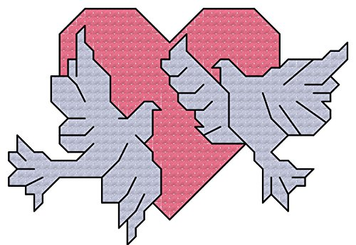 Loving doves on heart cross stitch pattern/ chart: Cross stitch chart suitable for cards/ frames, good for Anniversaries, engagment, weddings etc. (English Edition) (Dove Frame)