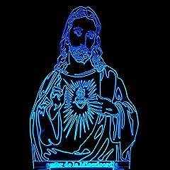 Idea Regalo - Longless Lampada da tavolo laico visivo creativo boutique LED lampada da comodino 3D Gesù 3D tocco luci colorate cristiana 1.5W
