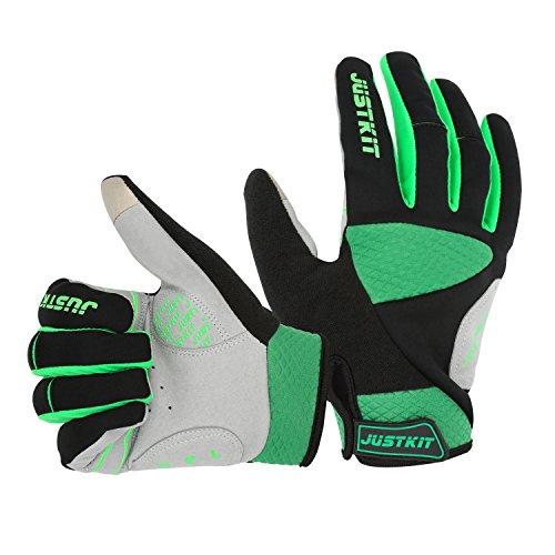 JUSTKIT radfahren handschuhe - touch bildschirm finger fahrrad handschuhe - wind - mountainbike - handschuhe - road racing fahrrad handschuhe - gel aus rad - handschuhe für frauen und männer (L, grüne) (Custom-fit-handschuhe)