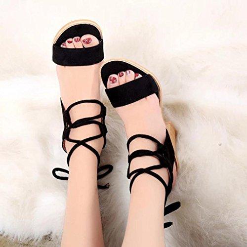 ... Koly_Primavera moda cinghie sandali delle pompe delle donne alti calza  Pattini Femminili Nero ...