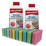 2x Mellerud Marmor Reiniger und Pflege 1l inkl. 10 Reinigungsschwämme