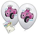 Karaloon 30040-5 palloncini, Buona fortuna, Bobby-Car, 90-100 cm di circonferenza, rosa
