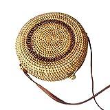 Ears Kleine Tasche Kreis-handgewebter Bali-runder Retro- Rattan-Stroh-Strand-Tasche Crossbody Reisetasche Diagonale Tasche Rucksack Münztelefon Tasche Umhängetasche Schultertasche kleine