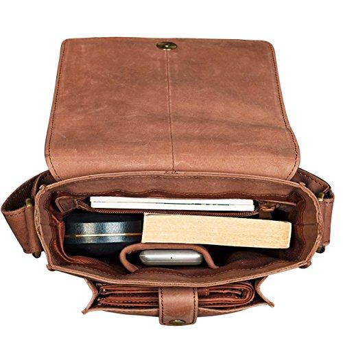 STILORD 'Finn' Borsello da uomo in vera pelle Borsa a tracolla per Tablet da 8, 4 pollici in cuoio Resistente borsetta messenger stile vintage di qualità , Colore:marrone cognac