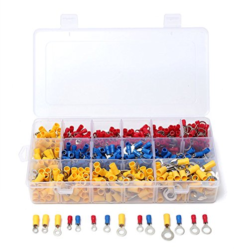 ChaRLes 650 Pcs Assorted Ring Insulated Electrical Wire Terminals Crimp Connector Kit Kit (Terminals Ring Connectors)