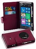 Cadorabo Nokia Lumia 1020 Custodia di Libro di Finta-Pelle STRUTTURA in LILA BORDEAUX – con Vani di Carte e Chiusura Magnetica – Portafoglio Cover Case Wallet Book Etui Protezione