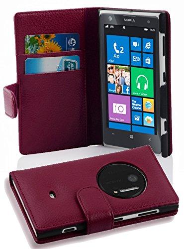 Cadorabo Hülle für Nokia Lumia 1020 - Hülle in Bordeaux LILA - Handyhülle mit Kartenfach aus struktriertem Kunstleder - Case Cover Schutzhülle Etui Tasche Book Klapp Style