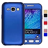 COOVY Funda para Samsung Galaxy J1 SM-J100 SM-J100F (Model 2015) 360 Grados, Carcasa Ultrafina y Ligera, con Protector de Pantalla, protección de Cuerpo Completo   Color Azul