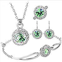 Black friday deals Silver Plated Cubic Zirconia Fresh Apple Green Rhinestone Halo Pendant Necklace Bracelet Earrings Ring Jewelry Set, Best Christmas / Birthday Gift for Mother, Wife, Daughter, Girls