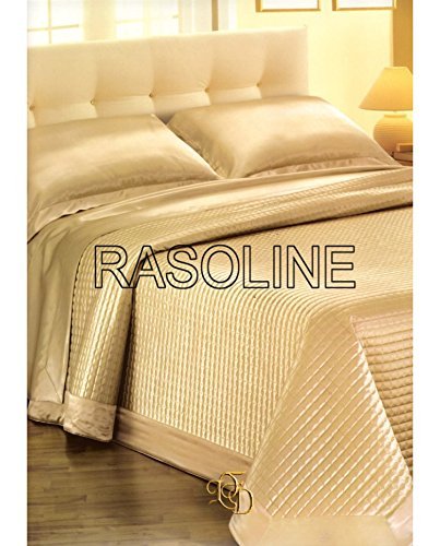 Elegante copriletto trapuntato matrimoniale trapuntino beige oro in raso lucido 265x265 cm con applicazioni di strass