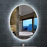 Bathroom mirror Miroir Salle De Bain Mural à LED pour,Miroir Ovale Moderne Frameless...