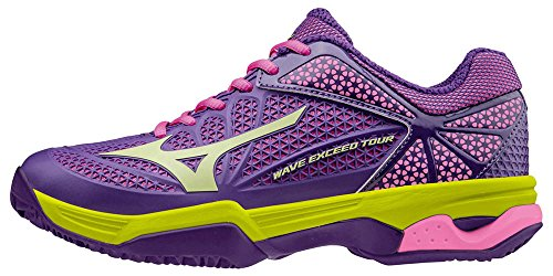 Mizuno Wave Exceed Tour Cc Wos, Chaussures de Tennis Femme Violet - Viola (Pansy/Limepunch/Electric)