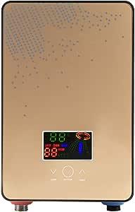 Ongoion Warmwasserbereiter 220v 6500w Durchlauferhitzer Ohne Tank Mit Großem Durchsichtigen Led Bildschirm Und Duschkopf Für Die Küche Und Das Bad Küche Haushalt