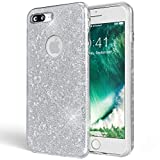NALIA Coque Silicone pour iPhone 7 Plus, Ultra-Fine Glitter Housse Protection Slim Case Paillettes Cover Souple, Etui Strass Luxe Bumper Mince pour Telephone Portable Apple i-Phone 7+ - Argent Silver