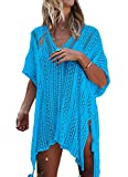 LazLake Damen Strandkleid Badeanzug Bikini Cover up Strandponcho Sommer Bademode LXF13 Light Blue