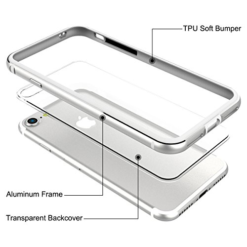 Custodia per iPhone 7 Plus,Cover per iPhone 8 Plus in Silicone, GrandEver Dura Metal Aluminum Frame con Inner Trasparente TPU Back Bumper Cover Case per iPhone 7 Plus/iPhone 8 Plus - Argento argento