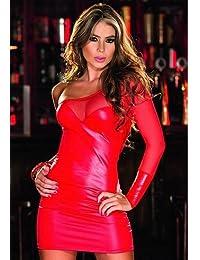 HYW Midnight Sex Lingerie Paint Uniform Temptation Night Club Wear Europa Y América Ropa Interior Atractiva Sex Paint,Rojo,S
