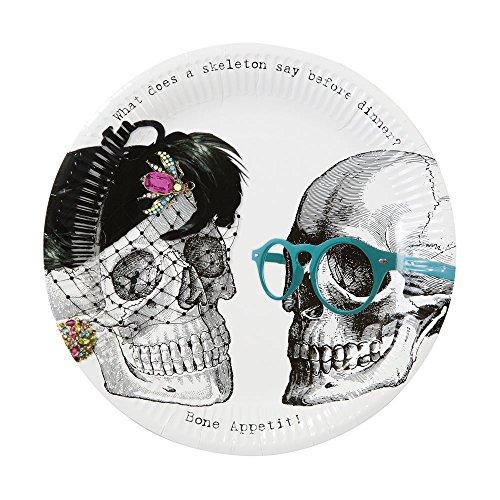 Talking Tables Skelett Crew Papier Party Teller, Papier, mehrfarbig, Pack of 16 (Für Halloween Papier-deko-ideen)