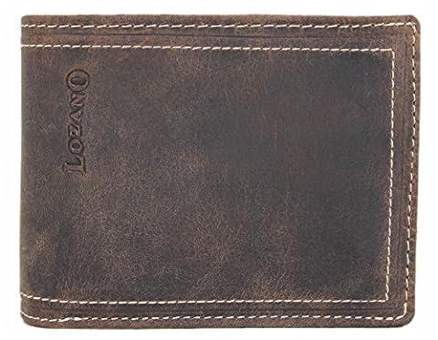 LOZANO Herren Echt-Leder Geldbörse Portemonnaie Brieftasche Portmonee Geldbeutel Kredit-Kartenetui Wallet Vintage Organizer Reisebrieftasche aus hochwertigem Leder braun 30004W