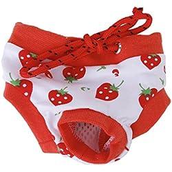 SODIAL (R) ropa para mascotas perro Calzoncillos panales menstruales fisiologicos - M rojo y blanco