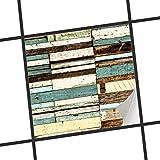 creatisto Küchen-Folie Fliesen-Aufkleber | Deko-Dekorsticker Badfliesen Wanddeko | 10x10 cm Design Motiv Schiffsbruch - 1 Stück