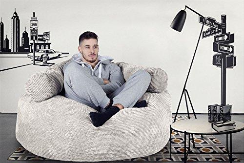 Lounge Pug®, 'Mammoth' Sofa Sitzsack XXL, Riesen Sessle, Pom-Pom Creme