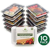 |10pack| comida Prep Alimentos Contenedores. Bento Box Juego de Tupperware con tapas. Seguro para lavavajillas, Microondas y Congelador. apilable, reutilizable y libre de BPA de plástico Alimentos/Almuerzo Caja de contenedores con separadores + Ebook
