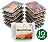 [10 pack] 1 Compartment BPA Free Meal Prep Containers. Reusable Plastic Food Storage Containers with Lids. Stackable Microwavable Freezer Dishwasher Safe Bento Lunch Box Set + EBook [1.1L]