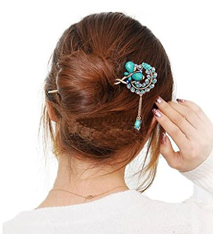 Blue Vintage Retro Style Butterfly Beaded Antique Brass Hair Stick