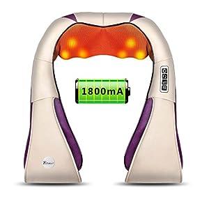 HoWay wiederaufladbar kabellos Shiatsu Massagegerät mit 8 Massageköpfen Nacken Schulter Rücken Massage mit AKKU Wärmefunktion 4D-Rotation Masseur für Büro Auto und Zuhause