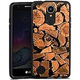 LG K8 2017 Hülle Silikon Case Schutz Cover Holz Look Baum Holzscheit