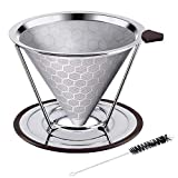 Stainless Steel Coffee Filter, Adornlife Reusable Pour Over Coffee Filter Cone Coffee Dripper with Removable Cup Stand and Bonus Brush(Honeycombed Design)