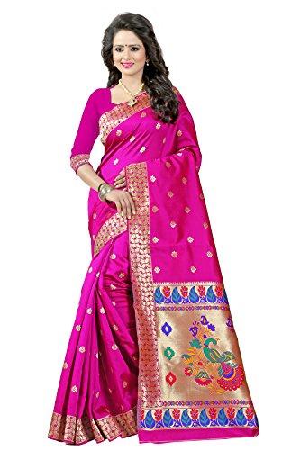Shree Sanskruti Women'S Tussar Silk Saree With Blouse Piece (Paithani 3 Pink_Pink)