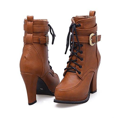 VogueZone009 Damen Hoher Absatz Weiches Material Reißverschluss Stiefel Braun