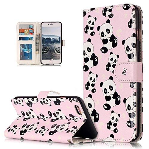 Custodia iPhone 6S, iPhone 6 Cover, ikasus® iPhone 6S/iPhone 6 Custodia Cover [PU Leather] [Shock-Absorption] Fiore Farfalla Lupo Gufo Dreamcatcher Modello Colorato verniciato Goffratura Protettiva Po Piccolo panda
