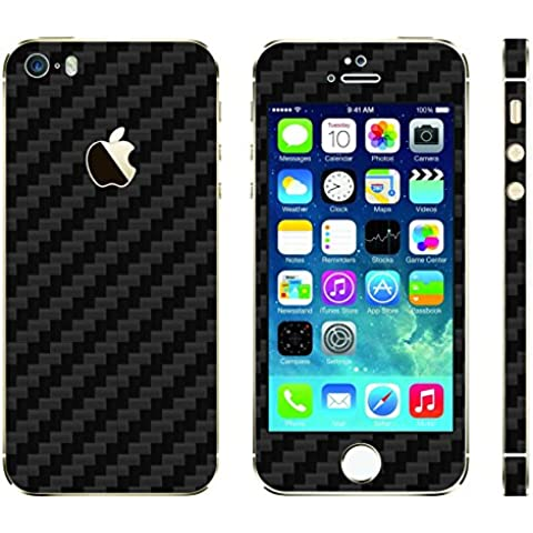 "UKarbon: Skin adesiva in fibra di carbonio per iPhone 5S, in vinile di alta qualità, 3 m, Matte Black Carbon, 4.87"""