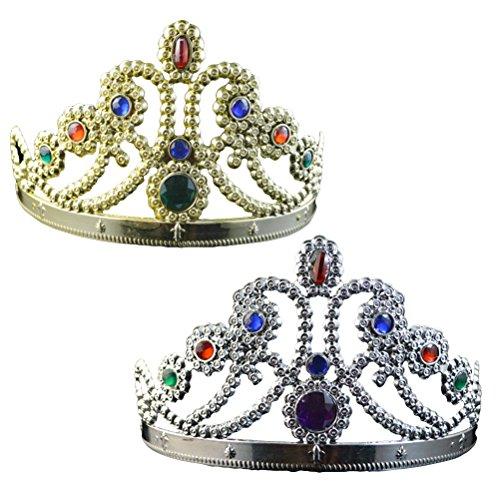 BESTOYARD 2pcs Geburtstag Mädchen Tiara Prince Crown Hüte Kids Party Favors Lieferungen, Gold und Silber (neun Kristalle)