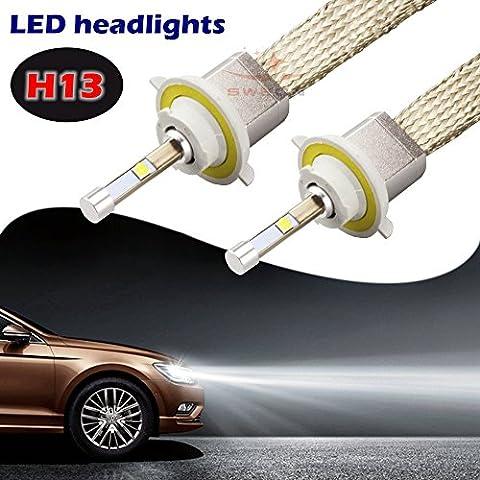 sweon Lot de 2ampoules 80W H134800LM CREE voiture phare LED Kit de conversion xénon 6000K blanc Lampe H1H3H4H7H1190049005900690079012