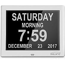 【Nueva Versión】InLife Digital Calendario Reloj, Despertador Multifuncional con 8 Idiomas Diferentes, Soporte Tarjeta SD, 5 Alarmas Programables y 3 Recordatorios de Medicación, Idel para los Mayores