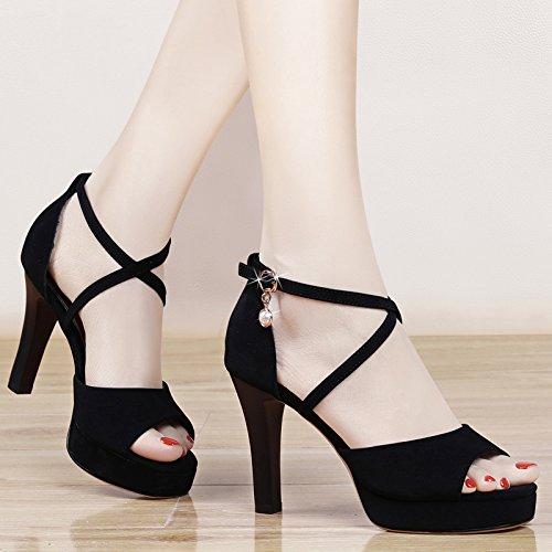 GTVERNH-black 8.5cm sandali donne estate impermeabili taiwan spesso con i tacchi croce con lady bocca di pesce scarpe,trentotto Thirty-five